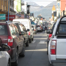Traffic downtown Ushuaia